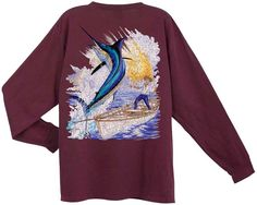 Guy Harvey Back-Print Long Sleeve Tee in Vintage Vinyard, $26.95