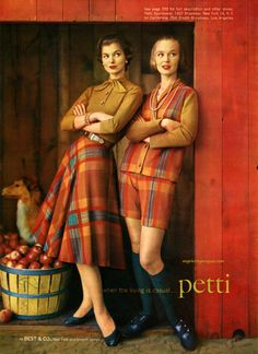 Best & Co. 1957 plaid tartan wool cotton shorts vest circle skirt shoes knee socks tan shirt late 50s vintage fashions tyle petti