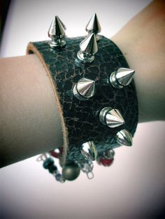 Spiked/Peace/ leather cuff bracelet /statement jewelry / one of a kind/ upcycled/ unique design by So cliché jewelry  https://www.facebook.com/soclichejewelry