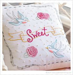 How to place and space letters on banners in embroidery. Tips from Jenny at Sublime Stitching