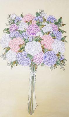 좀 더 큰사이즈의 부케예요~^^ 퍼플톤으로 맞춰봤어요~ 액자,족자 다예쁠것같아요♡ 제일밝은색톤의 모란꽃...