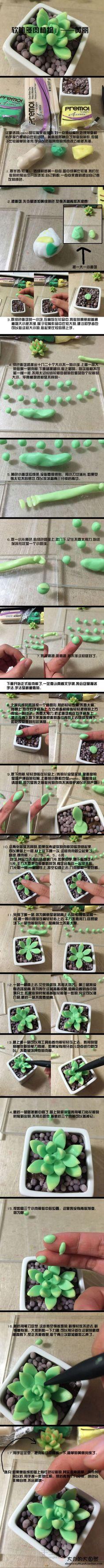大力的软陶教程1—软陶多肉植物黄丽 第1步