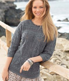 Пуловер с ажурными цветами - схема вязания спицами. Вяжем Пуловеры на Verena.ru