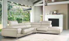 White Top Grain Leather sectional sofa VG914