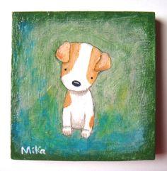 Original Painting Cute Jack Russel Dog Puppy Love Illustration $34.99, via Etsy.