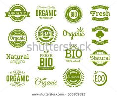 Set of 100% bio, natural, organic, eco, healthy, premium quality food logos. Logotype templates with floral and vintage elements in green color for identity, packaging. Set of vector badges.