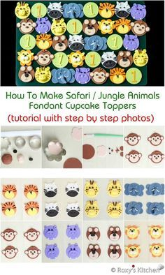 Tutorial with Step by Step Photos - How To Make Safari / Jungle Animals Fondant Cupcake Toppers – Tiger, Zebra, Giraffe, Elephant, Monkey, Hippo, Bear, Lion