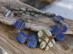 Jewelry - Necklace - Lapis - Raw Turquoise - Tied - Artisan - Sterling Silver - Earthy Urban Chic Jewelry by YaY Jewelry via Etsy
