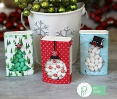 Tic Tac holder gifts made with Pebbles Inc. Home for Christmas collection by Rib… Tic Tac holder gifts made with Pebbles Inc. Home for Christmas collection by Ribbons & Glue Christmas Favors, Christmas Crafts, Christmas Decorations, Christmas Ornaments, Christmas Wreaths, Candy Crafts, Christmas Projects, Holiday Crafts, Paper Gift Box