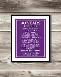 90th Birthday Print Gift Digital 90 By ForEvaDesign Parties Mom