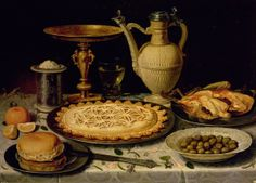 Still life with a tart, roast chicken, bread, rice and olives   Juan van der Hamen y León  1596-1631