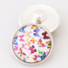 Rainbow of Butterflies Glass Button Bead Noosa Snap On Charm Chunk 18m – Your Charmed Story