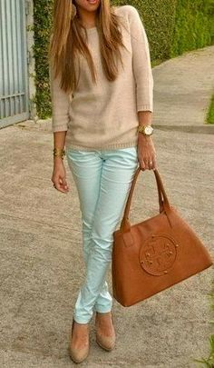 mint jeans and earth tones - Camel bag,