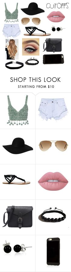 """""""Cutoff beachy"""" by caribeari ❤ liked on Polyvore featuring Rosie Assoulin, One Teaspoon, Monki, Ray-Ban, Sole Society, Lime Crime, Shamballa Jewels, Bling Jewelry, Miss Selfridge and jeanshorts"""