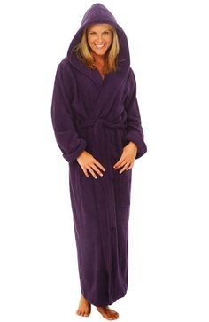 4ecc949b33 Women s Luxurious Terry Cotton Full Length Hooded Bathrobe Robe by  sleepandlounge Hoods