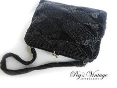 ★ Mysterious Black ★ by Peggy Sinclair - Vintage 1950s Elegant Hand Beaded Richere Purse// Black Glass Seed Bead Clutch Evening Bag, Purse Japan Handmade https://www.facebook.com/permalink.php?story_fbid=819044574821889&id=100001490617281