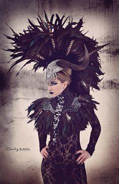CLEARANCE Wildebeest horn feather mohawk Futuristic gaga halloween rocker Cleopatra Egyptian Fantasy headdress headpeice wig. $339.00, via Etsy.