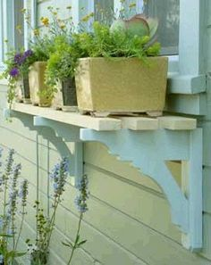 Window Box Twist ... ♥ this idea - a simple shelf made from upcycled brackets & wooden slats. Adds charm and character to a plain window with practical gaps for planter drainage. | The Micro Gardener
