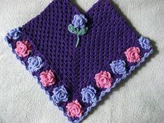 Pretty floral crochet poncho