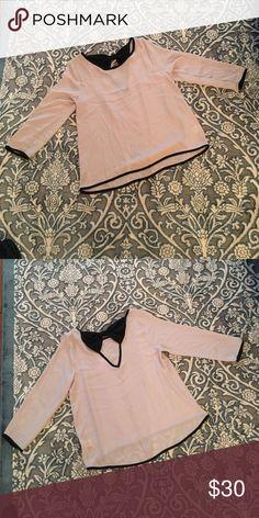 Tan/cream and black blouse Francesca's blouse never worn. NWOT. alya Tops Blouses