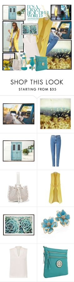 """""""Yellow Longline Vest"""" by polyvore-suzyq ❤ liked on Polyvore featuring Pottery Barn, Prada, Victoria Beckham, Wrangler, Alaïa, River Island, Kenneth Jay Lane, Elie Tahari and Nine West"""