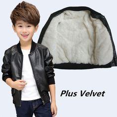 7fc7eb6fc Venta CALIENTE Otoño Invierno chaqueta de Cuero de Imitación para El  Calentamiento de Algodón muchachos de Los Niños