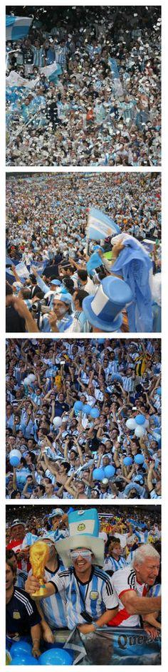 Esto fue durante la Copa Mundial. El estadio estaba lleno de fanáticos del fútbol de argentina.