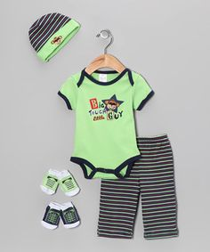 This Baby Essentials Green 'Big Tough Little Guy' Bodysuit Set - Infant by Baby Essentials is perfect! #zulilyfinds