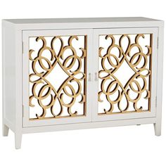 PFC Accents Calli White Mirrored 2-Door Wine Storage Console - #15D63 | Lamps Plus