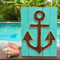 Handmade Anchor with Rope Beach Pallet Art by BeachByDesignCo