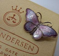 Beautiful Vintage Silver and Enamel Butterfly Brooch