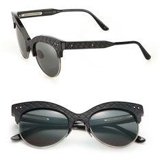 Bottega Veneta 52MM Leather & Acetate Extreme Cat's-Eye Sunglasses (297 CAD) ❤ liked on Polyvore featuring accessories, eyewear, sunglasses, apparel & accessories, black, lens glasses, cateye sunglasses, bottega veneta glasses, uv protection sunglasses and cat eye sunglasses