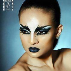 Fantasy Make-Up Black Swan Black Swan Makeup, Black And White Makeup, Black White, Bird Makeup, Show Makeup, Extreme Makeup, Fantasy Make Up, High Fashion Makeup, Theatrical Makeup