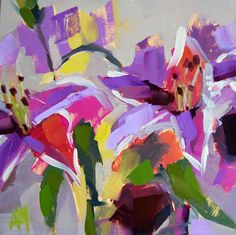 Lilies no. 4 original floral abstract oil painting by Angela Moulton 8 x 8 inch on panel notch in back for hanging