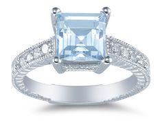 Princess Cut Aquamarine and Diamond Ring, 14K White Gold