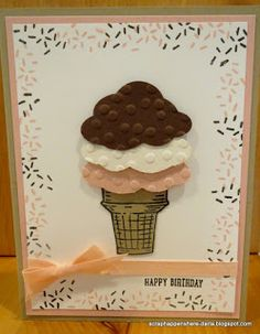 Happy Birthday Card created with Sprinkles of Life stamp set from Stampin UP! also using the Tree Builder punch Kids Birthday Cards, Birthday Tree, Birthday Bash, Girl Birthday, Spring Tree, Tree Crafts, Paper Crafts, Birthday Cupcakes, Stamping Up