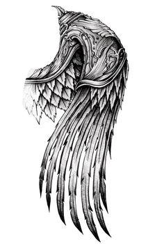 ornate wing by AYEUHONE – # - tattoo sleeve ideas Schulterpanzer Tattoo, Alas Tattoo, Body Art Tattoos, Hand Tattoos, Feather Tattoos, Chest Tattoo, Pretty Skull Tattoos, Maori Tattoo Arm, Samoan Tattoo