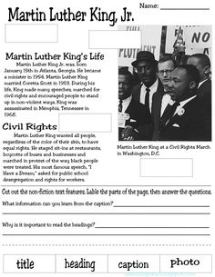 MLK nonfiction text features • CCSS.ELA-Literacy.RI.2.5 Know and use various text features (e.g., captions, bold print, subheadings, glossaries, indexes, electronic menus, icons) to locate key facts or information in a text efficiently.