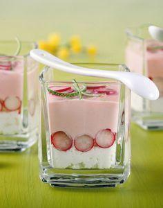 Crème de radis, chèvre et citron vert : 30 Radis rose 1/2 Citron vert 20 cl…