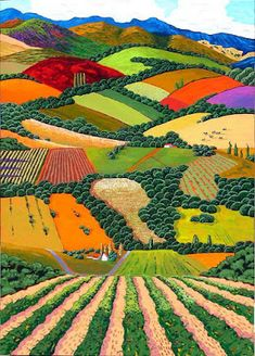 Gene Brown Summer View - Southwest Gallery: Not Just Southwest Art. Landscape Quilts, Landscape Art, Landscape Paintings, Landscape Design, Computer Illustration, Illustration Art, Illustrations, California College Of Arts, Southwest Art