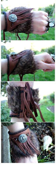 Handmade Fringe Leather Faux Fur Cuff Wrist by HeavyMetalThreads, $50.00