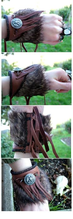 Handmade Fringe Leather Faux Fur Cuff Wrist by HeavyMetalThreads, $50.00
