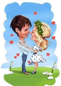 Весенний шарж влюблённых  #шарж #влюблённые #caricature #cartoon #cartoonart