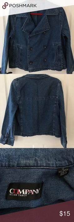 Double breasted denim jacket by Ellen Tracy Nice lightweight denim jacket is so adorable and well made. Has extra buttons inside. Size 12 company by Ellen Tracy Jackets & Coats