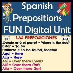 This Google Slides Spanish Prepositions Unit has grammar information, digital activities, fun dances and rhymes, practices, songs, videos, quizzes, and everything needed to teach and reinforce prepositions in Spanish. This unit requires no prep as everything is organized and ready to go!