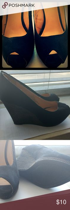 Mossimo Black Platform Wedges Beautiful black platform wedges by Mossimo  Worn twice so in pretty pristine condition. Beautiful gold studding on the heel. Shoes Wedges