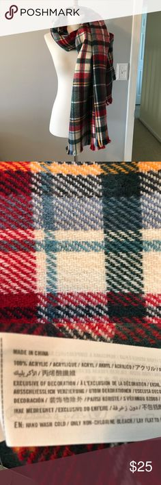 """ABERCROMBIE AND FITCH SCARF *NWT* Large, soft, oversized multi-color plaid scarf.  73"""" x 27"""" Abercrombie & Fitch Accessories Scarves & Wraps"""