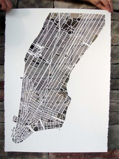Manhatten hand cut paper map. How long did this take to do!