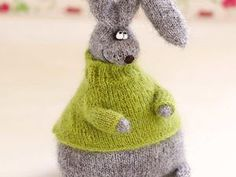 Grey stuffed bunny in sweater bunny Plush Toy bunny Hand-knitted Amigurumi bunny Miniature bunny Doll stuffed toy bunny woolen crochet toys by MiracleStore on Etsy Knitting Dolls Clothes, Crochet Doll Clothes, Crochet Toys, Crochet Baby, Knit Crochet, Sweater Knitting Patterns, Hand Knitting, Felt Doll House, Felt Toys