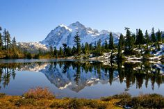Mt. Shuksan (snow Fall+colors mountains sky water ). Photo by Steppingstoneman